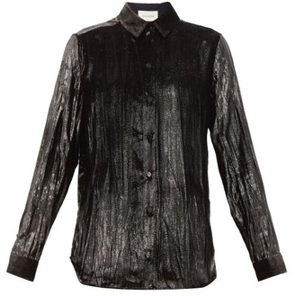 Gucci Creased Lame-velvet Shirt - Black
