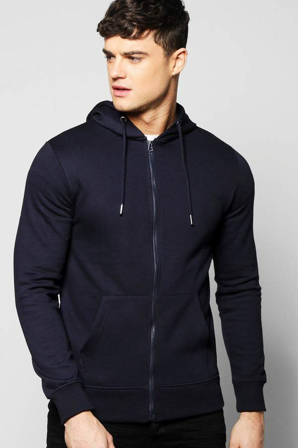 boohoo Basic Zip Through Hoodie navy