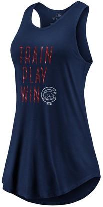 Women's Fanatics Branded Navy Chicago Cubs Train, Play, Win Tank Top