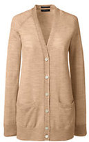 Lands' End Women's Petite Merino V-neck Cardigan Sweater-Pale Camel Heather