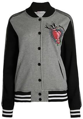 RED Valentino Heart Motif Baseball Jacket