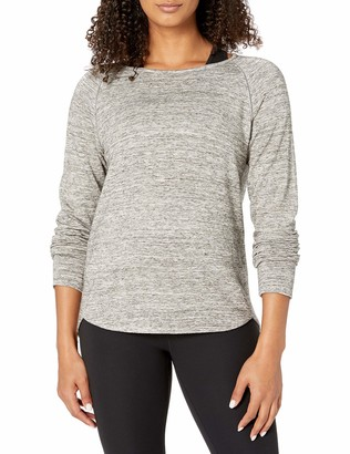 Core 10 Amazon Brand Women's Soft French Terry Mesh Trim Long Sleeve Yoga Sweatshirt