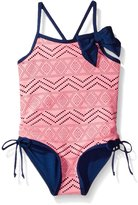 "Pink Platinum Platinum Little Girls' ""Tribal Perforations"" 1-Piece Swimsuit"