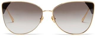 Linda Farrow Ida Cat-eye 18kt Gold-plated Sunglasses - Grey Gold