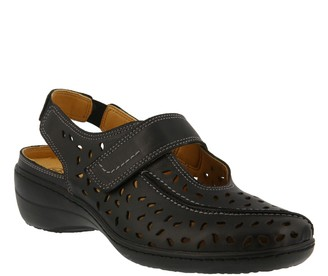 Spring Step Perforated Leather Sling-back Loafers - Fogo