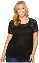 Roper Plus Size 981 Stretch Knit Lace Short Sleeve Top Women's Clothing