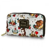 Loungefly Disney Beauty And The Beast Tattoo All Over Print Zip Around Wallet
