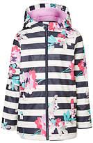 Joules Little Joule Girls' Rain Dance Floral Coat, Multi