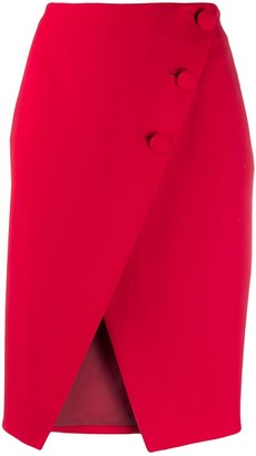 Sara Battaglia Asymmetric Buttoned Skirt