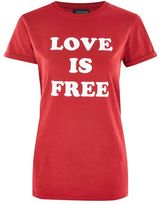 Topshop 'love is free' slogan t-shirt