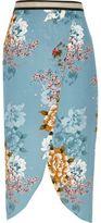 River Island Womens Blue floral print wrap midi skirt