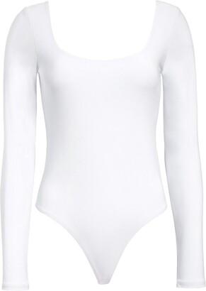 Leith Double Scoop Long Sleeve Thong Bodysuit