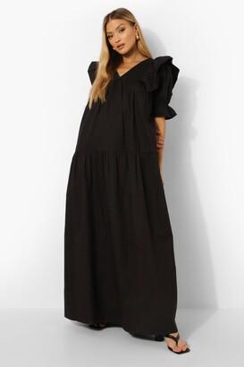 boohoo Ruffle Sleeve Maxi Smock Dress