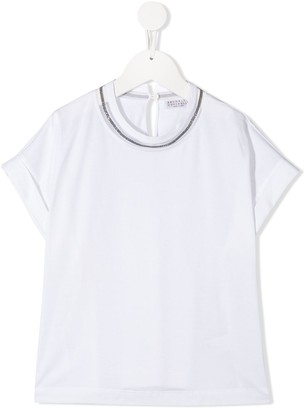 BRUNELLO CUCINELLI KIDS stud-embellished cotton T-shirt