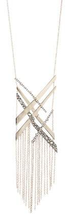 "Alexis Bittar Crystal Encrusted Link Tassel Bib Necklace, 28"""