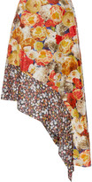 Acne Studios Pamsan Asymmetric Floral-print Silk-satin Skirt - Orange
