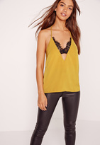 Missguided Insert Lace Strap Detail Cami Yellow