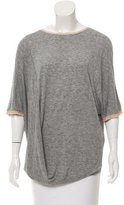 By Malene Birger Draped Silk-Trimmed T-Shirt