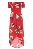 Quiz Red Crepe Floral Print Bardot Wrap Front Dress