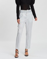 Missguided Metallic Belted Cigarette Trousers