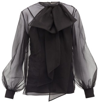 Valentino Pussy-bow Silk-organza Blouse - Womens - Black