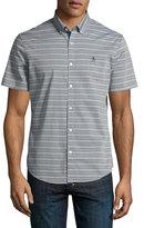 Original Penguin Striped Cotton-Blend Short-Sleeve Shirt, Dark Blue