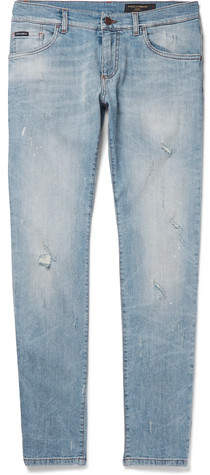 Dolce & Gabbana Slim-Fit Distressed Stretch-Denim Jeans