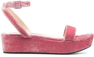 Emilio Pucci Velvet Flatform Sandals