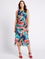 Marks and Spencer Blurred Leaf Print Lace A-Line Midi Skirt