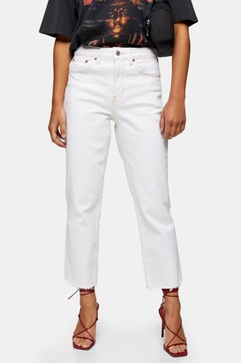 Topshop Womens Petite White Straight Jeans - White
