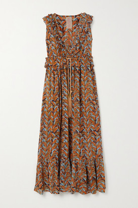 Yvonne S Marie Antoinette Ruffled Printed Voile Maxi Dress - Brown
