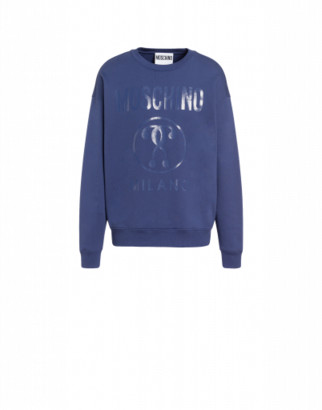 Moschino Cotton Sweatshirt With Double Question Mark Print Man Blue Size 44 It - (34 Us)