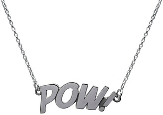 Edge Only Pow Letters Necklace in Silver