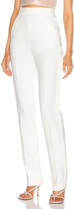 David Koma Satin Side Panel Slim Trouser in White | FWRD