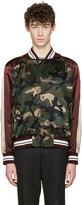 Valentino Green Camo Souvenir Bomber Jacket
