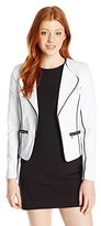 XOXO Women's Zip Pocket Blazer Jacket