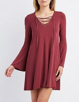 Charlotte Russe Lace-Up Bell Sleeve Shift Dress