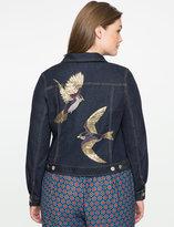 ELOQUII Plus Size Embroidered Denim Jacket