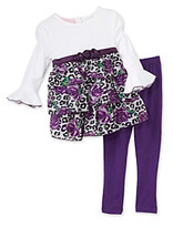 Kids Headquarters Baby Girls' Purple 2-pc. Floral Tunic Set