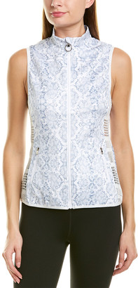 Roberto Cavalli Snakeskin Print Zip-Up Vest