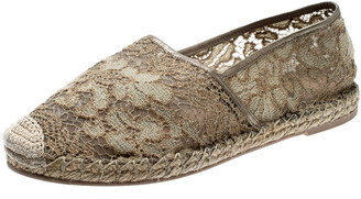 Valentino Beige Lace And Leather Espadrilles Size 39