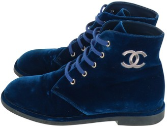 Chanel Blue Velvet Ankle boots