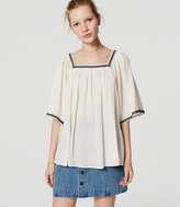 LOFT Petite Embroidered Square Neck Blouse
