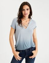American Eagle Outfitters AE Soft & Sexy Strappy Split-Neck T-Shirt