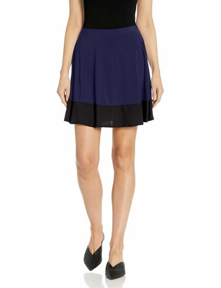 Star Vixen Women's Stretch Ity Colorblock Hem Swingy Full Skater Skirt