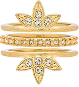 Luv Aj Posie Pave Ring Set in Metallic Gold. - size 7 (also in )