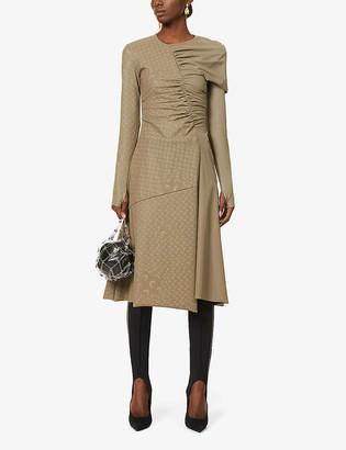 Marine Serre Brand-print asymmetric-panel stretch-woven midi dress