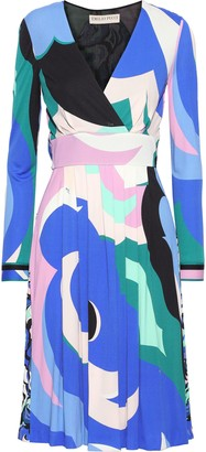 Emilio Pucci Wrap-effect Pleated Printed Jersey Dress
