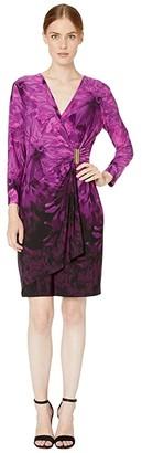 Calvin Klein Printed Faux Wrap Dress with Side Tab (Aubergine) Women's Dress