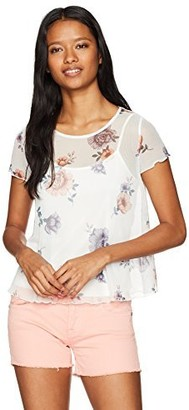 Love, Fire Love Fire Women's Printed Floral Mesh Tee with Lining